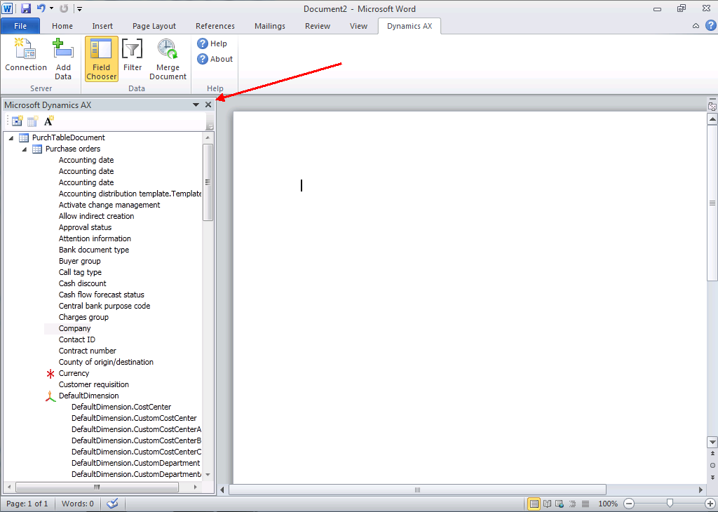 Microsoft Dynamics AX Pane Note: If you close this pane, it can be reopened by clicking Add Data