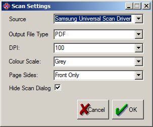 1.1 Scanning Setup Click the Scanning Setup button under the Setup group heading. This will bring up the following box: 1.1.1 Source This list will contain all of the scan devices attached to the current computer with properly installed TWAIN drivers.