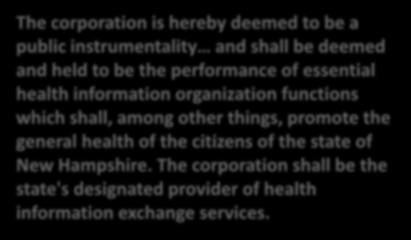 CHAPTER 332-I MEDICAL RECORDS, PATIENT INFORMATION, AND THE HEALTH INFORMATION ORGANIZATION CORPORATION 332-I:7 Corporation Established The corporation is hereby deemed to be a public instrumentality