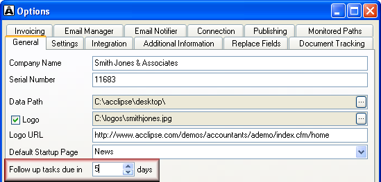 Set follow-up period for tasks Team members can schedule Outlook tasks when they merge documents or file an email (available with Acclipse Email Manager).
