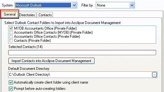 Integrate to Outlook When you integrate your Outlook Contact folder(s) with the Acclipse Document Manager client database the link is NOT a real-time one.