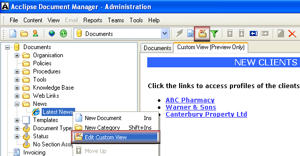 Open custom view category in Custom View Editor To open and edit a category that has been set up for custom view: 1. Select a category that has been set up for custom view. 2.