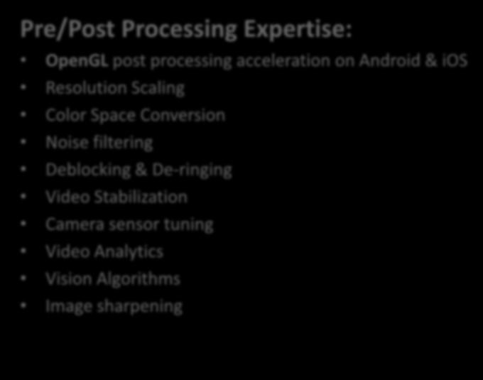 Pre/Post Processing Expertise: OpenGL post processing acceleration on