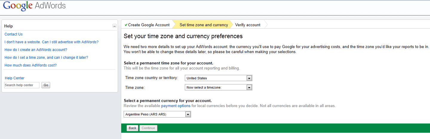 Step 2: Set Time Zone and Currency 1) Select Territory & Time Zone 2) Select Currency - Time zone and currency