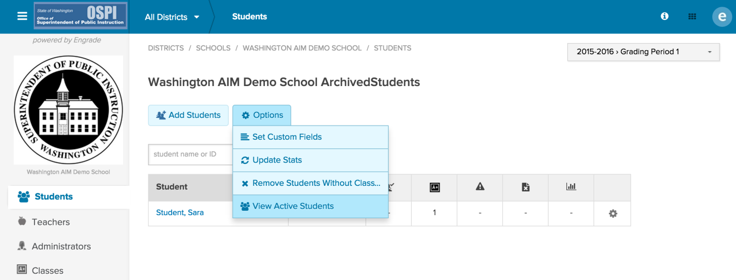 3. Hover over the Options button and click on View Active Students to view the current school roster.