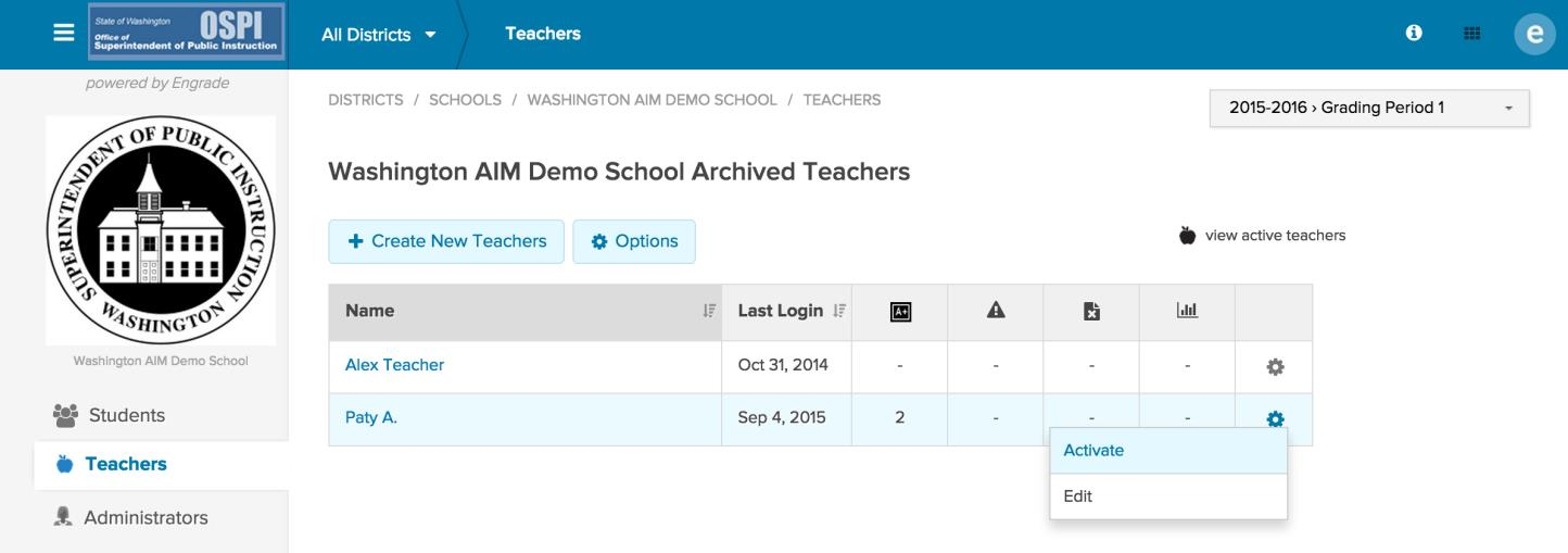 Reactivate a teacher account: If you archived a teacher by mistake or need to activate a teacher account at a later date, you can reactivate the teacher by clicking on the view archived teachers