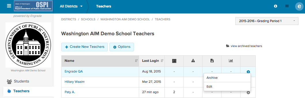 1. Hover over the gear icon to the right of a teacher s name. 2. Click on Archive. 3. To view archived teachers, click on the view archived teachers folder.