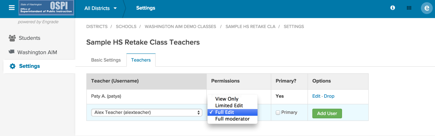 Return to the Settings page to select the new teacher assigned to the class. 6. Click on the Select Teacher drop-down menu to view a list of all teachers in your school.