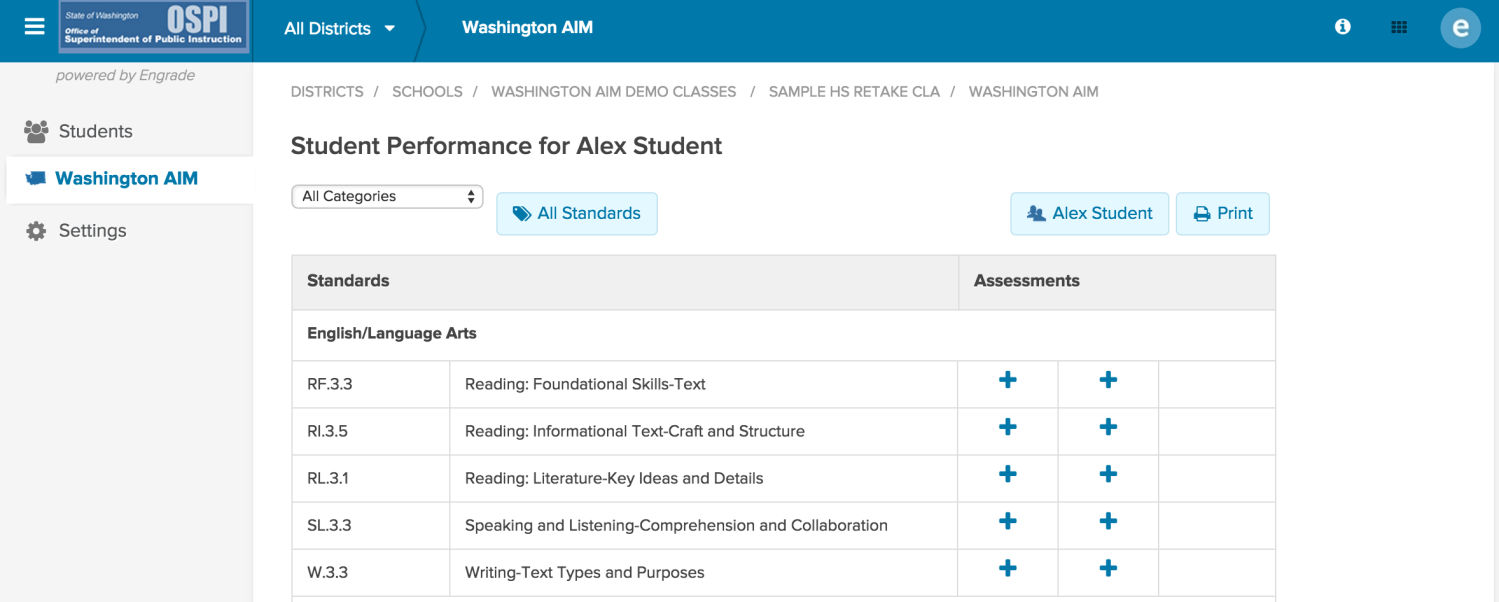 C. Check the status of baseline and final assessments for students at your school A. Accessing the Washington AIM Application You can access the Washington AIM application from the Classes page.