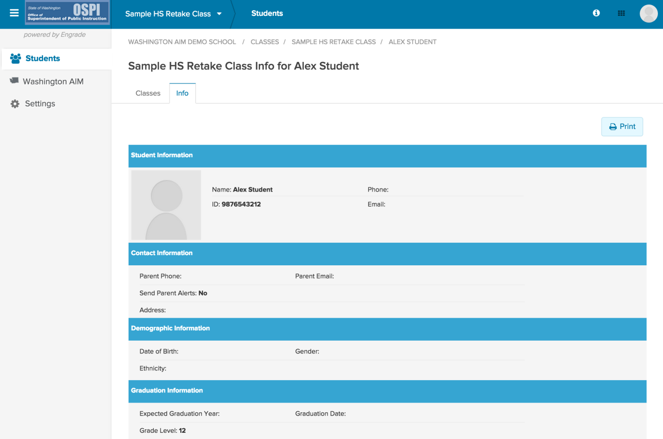 C. Viewing Student Details You can view additional information about students in your class by clicking directly on a student s name.