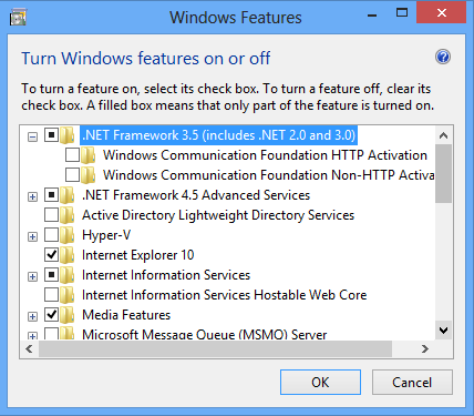 E. Installing the.net Framework 3.5 For Windows 8 / 8.1, follow the steps in section 1. For Server 2012 / R2, you will need to enable the Feature as detailed in section 2.
