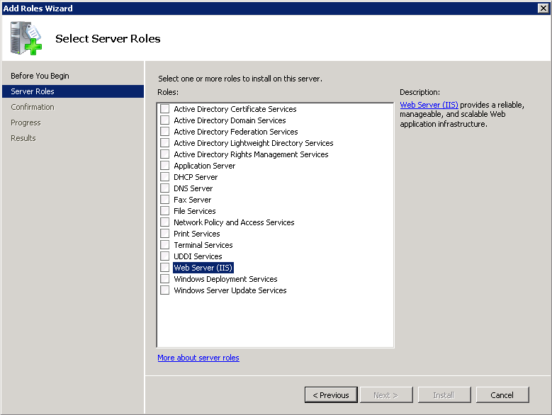 2. Select the Roles node and click Add Roles on the right: Figure 2: Server Manager 3.