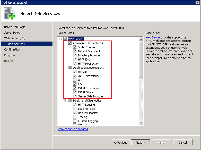 4. On the next step, select Role Services under Web Server (IIS) and make sure the role services are configured as shown in the