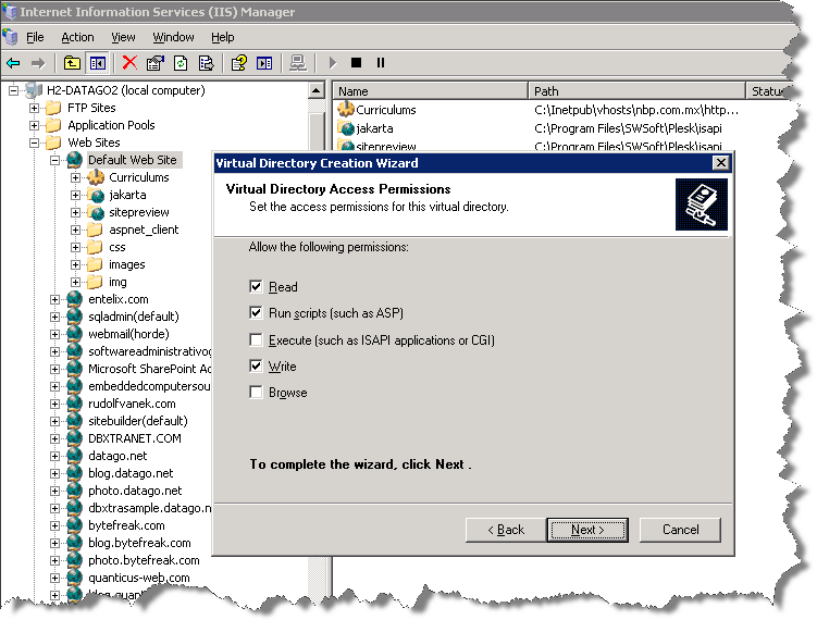 "You need to activate the privilege ""Run scripts (such as ASP) and the privilege ""Write"" for the virtual directory."