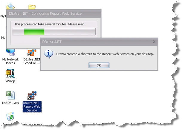 Once the configuration of the virtual directory is finished, DBxtra will display a message indicating that a shortcut to access the Report Web Service has been created on the desktop.