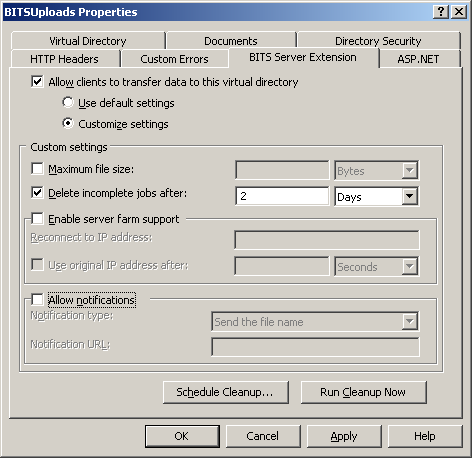Step 3: Configure BITS In this step a virtual directory in IIS is created and configured for file uploads via BITS. 1. Start Server Manager by selecting Manage Your Server from the start menu 2.