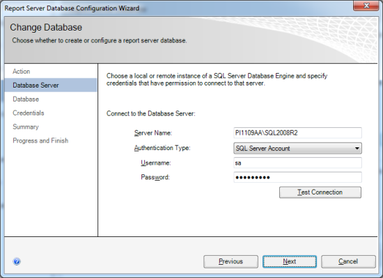 Enter the Server Name and connection details for the SQL server