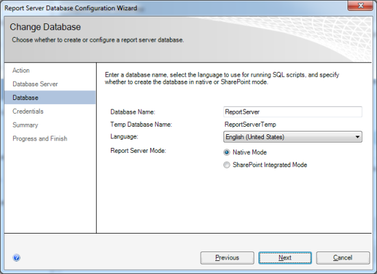 Provide database name and Temp database name, pick you language and select whether SSRS should
