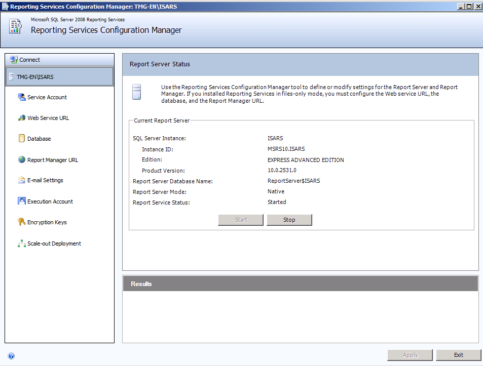 Figure 1: SQL Report Server Status As you can see in the screenshot above, the SQL Server Reporting data will be stored in a database called ISARS in Report Server Native Mode which is the default