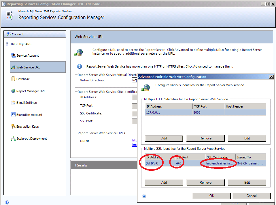 Figure 3: SQL Server Express Web Service URL The default database for the Microsoft SQL Server 2008 Reporting