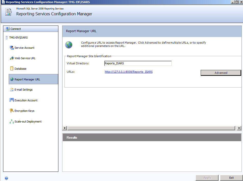 Figure 4: SQL Server Report Manager URL Click Advanced to add a Report Manager