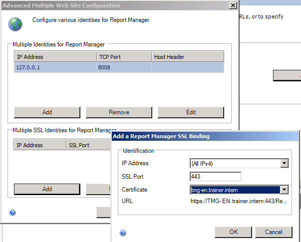 Figure 5: Enable HTTPS for the Report Manager As a next step verify the