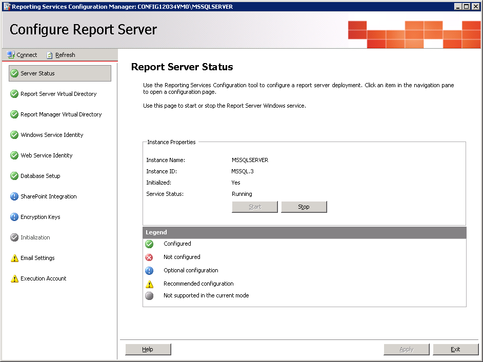 Guidelines for Installing Microsoft Reporting Services 29 c Click Connect. After the connection has been established, the Report Server Status page appears. The Server Status should appear as Running.
