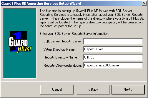 Configuring your GUARD1 PLUS SE RS Installation There is one wizard that you need to run before you can begin to use your GUARD1 PLUS SE Reporting Services module.