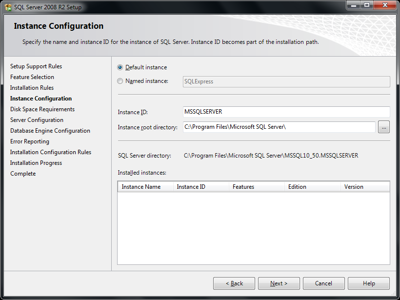 17. The Instance Configuration window will appear. Select the Default Instance radio button.