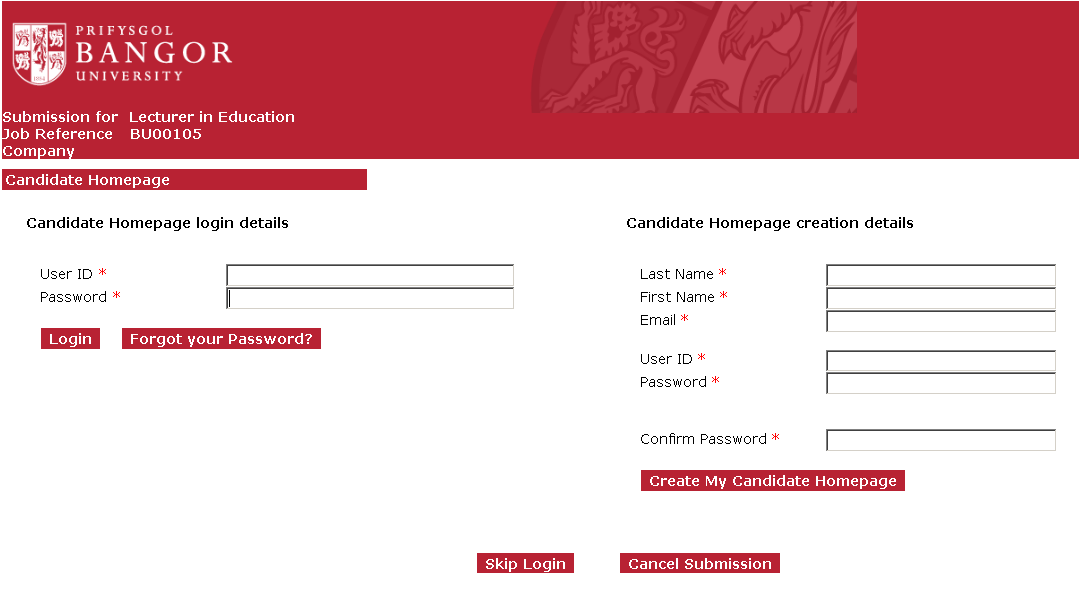 The next page gives you the option to create a candidate homepage, log-in to your candidate homepage or skip to the application without creating a homepage To log-in to your candidate homepage, fill