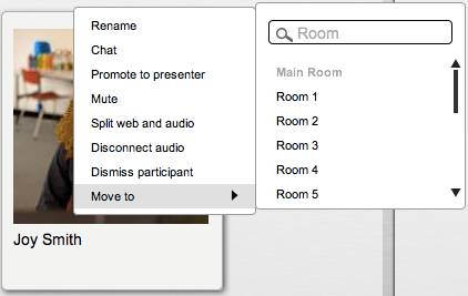 the Break Out Room View Moderators have full control of all rooms (move participants between rooms, control audio, rename rooms, etc.