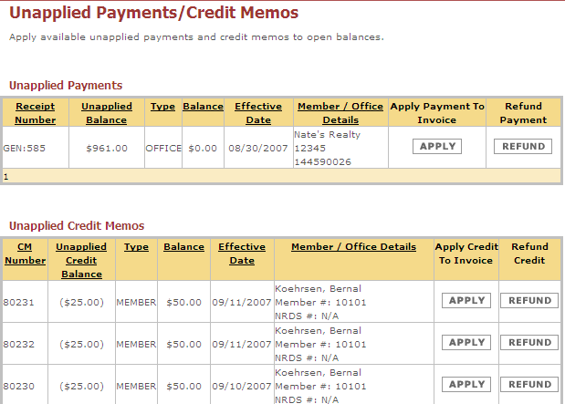 Unapplied Payments/Credit Memos Month End Processes in LAMPS At the close of each month the Accounting staff should review Unapplied Payments/Credit Memos and apply each when applicable.