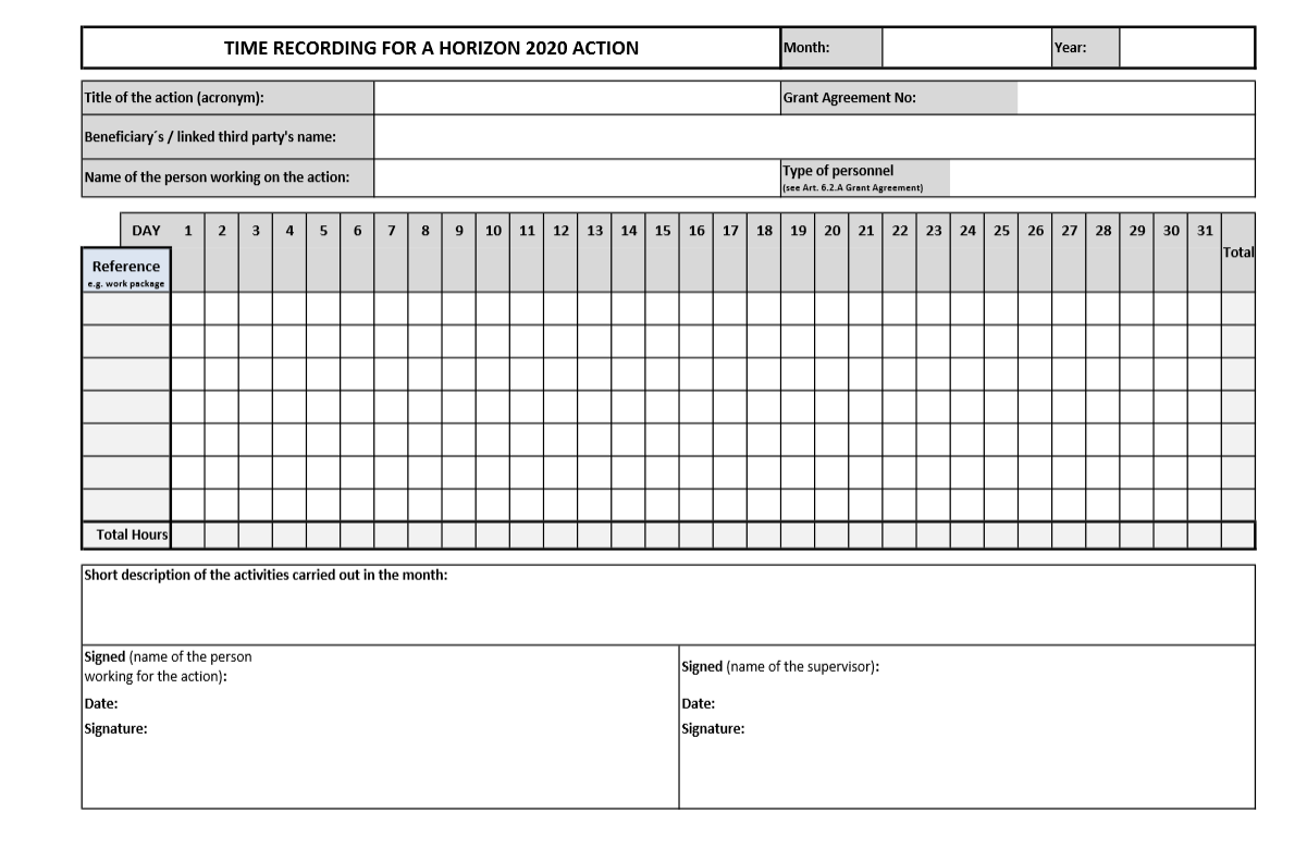 Figure 7. Template for time recording provided by EU: basic version. Source: http://ec.