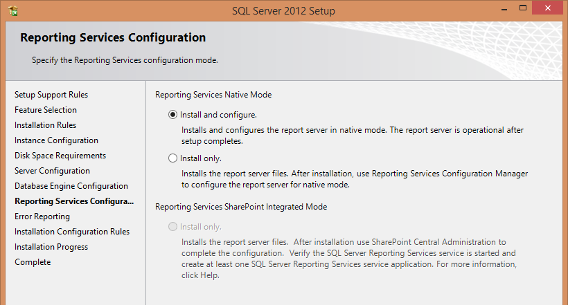 Page 14 In the Reporting Services Native Mode, just accept the default of Install and configure.