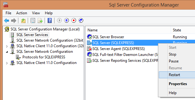 Page 17 You will be prompted to Restart the SQL Server Service (which we will do on the next screen) Just go up to the