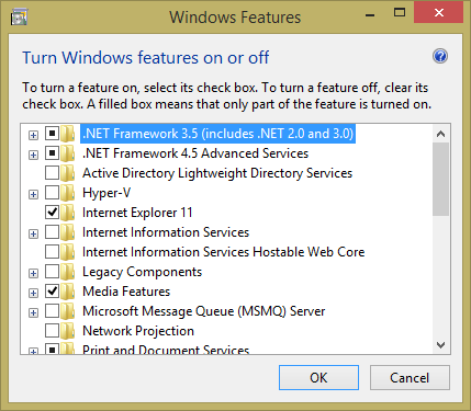 Page 5 2. Choose Turn Windows features on or off 3. Then select the.net Framework 3.5 (includes.net 2.0 and 3.0) check box 4. This option requires an Internet connection.