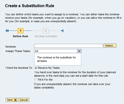 6 Substitutes This section is only relevant for approvers.