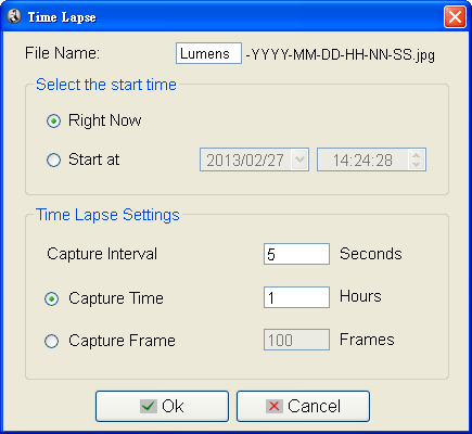 6.7 Time Lapse (Burst Settings) Click to open Time Lapse menu 1.
