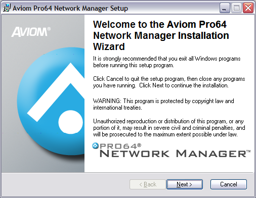 Start the Installation Process Locate the installer file, named Pro64_Network_Manager_Installer.exe and double-click it to begin the installation process.