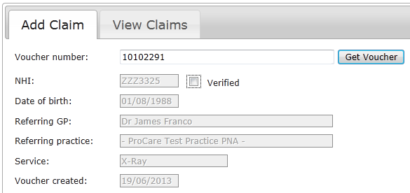 5. Adding claims When a patient has presented a voucher and you have provided the service requested on the voucher, you can submit a claim to ProCare. 5.