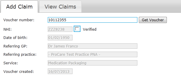5.2 Medication Packaging claims To add a Medication Packaging claim: 1 Sign in to ProExtra eclaiming ProExtra eclaiming displays the Add Claim tab 2 Enter the Purchase Order No from the patient s