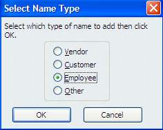 If the name is not in the database, the following message will appear: You may use Quick Add or Set Up to add a new name. Designate that the new name is an Employee and Select OK. 7.