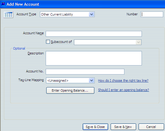 The Add New Account window opens. Using QuickBooks Pro 2007 Accounts 5. Press Tab to move to the Number field. 6.