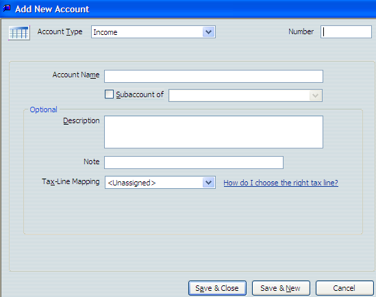 The Add New Account screen opens Using QuickBooks Pro 2007 Accounts 5. Press Tab to move to the Number field. 6.