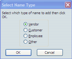 Working with Bank Accounts You may use Quick Add to add a new name. Designate if the new name is a Vendor, Customer, Employee, or Other and Select OK. 7. Press Tab and enter the amount of the check.