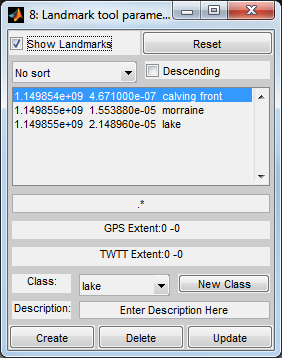 When echowin calls the picktool_landmark window, the class definition file initializes the properties, events, and functions for the landmarks tool, and the create UI function for picktool_landmark
