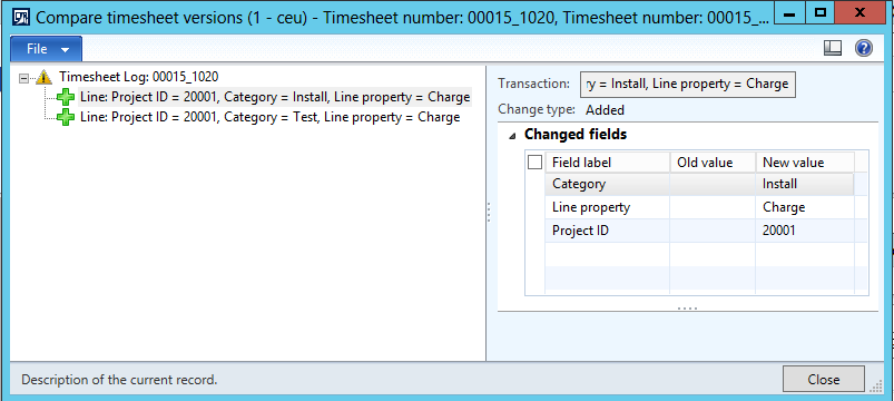 To examine timesheet changes in more detail, select a change line in the Timesheet versions form, and then click the Compare button to open the Compare timesheet versions form.
