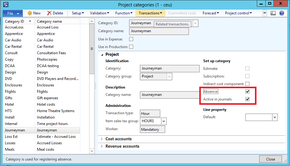 If required: Configure project/category validation Validation for projects in Microsoft Dynamics AX helps ensure that only workers who have been assigned to a particular project can enter work hours