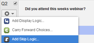 Skip Logic Skip logic creates a custom path through the survey that varies based on a respondent's answers. This option is usually used when multiple answers are to be skipped.