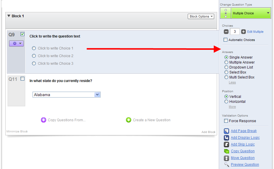 Multiple Choice Question Options There are several options available for customizing multiple choice questions in Qualtrics.